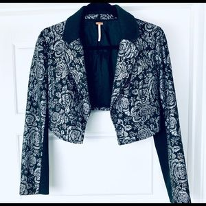 Free people black and silver cropped blazer
